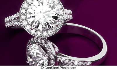 Diamond Rings on Purple Background - Precious Diamond Rings...