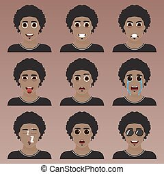 Set of cute african american man emoticons. Various emotions...