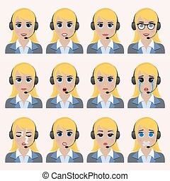 Set of cute operator emoticons.