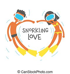 we love snorkeling, cartoon flat vector illustration.