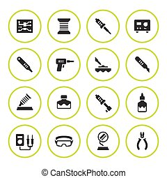 Set round icons of soldering isolated on white. Vector...
