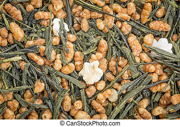 genmaicha green tea with roasted rice - background texture