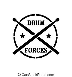 Drum sticks with word drummer - crosed Drum sticks with word...