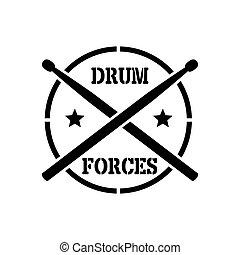 Drum sticks with word drummer - crosed Drum sticks with word...