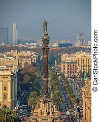 columbus monument - the statue of columbus in barcelona