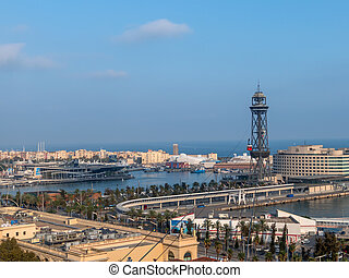 barcelona, ??spain. harbor with ropeway - the cable car in...
