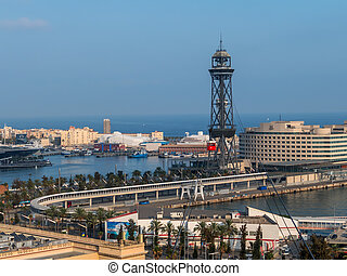 barcelona,Spain. harbor with ropeway - the cable car in the...