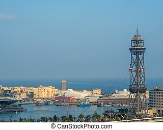barcelona, spain. harbor with ropeway - the cable car in the...