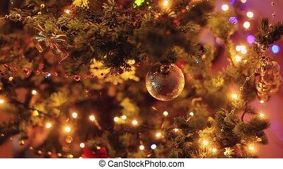 Christmas tree with Colorful bokeh and christmas lights. 1920x1080. hd