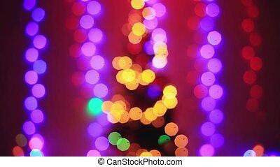 Defocused christmas tree lights with Colorful bokeh. 1920x1080