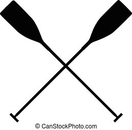 real sports paddles for canoeing. black silhouette criss...
