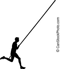 athlete male pole vault - black silhouette running athlete...