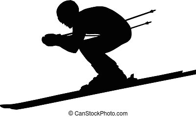 downhill man athlete skiing to competition in alpine skiing....