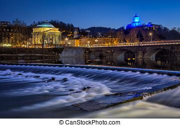 Torino (Turin) chiesa della Gran Madre fiume po e Monte dei...