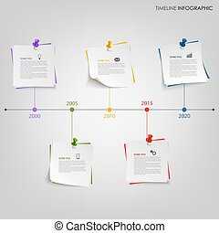 Time line info graphic with tags and colored pins vector eps...