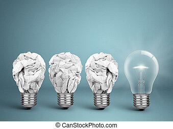 Bulb with crumpled paper, best idea creative concept