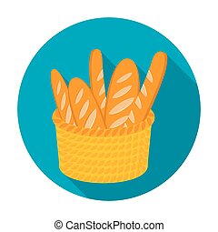 Basket of baguette icon in flat style isolated on white background. France country symbol stock vector illustration.