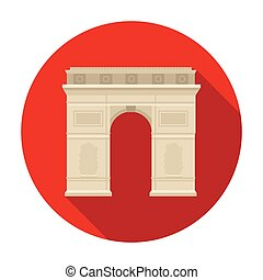 Triumphal arch icon in flat style isolated on white...