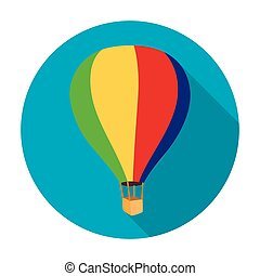 Airballoon icon in flat style isolated on white background....