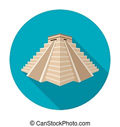 Chichen Itza icon in flat style isolated on white...