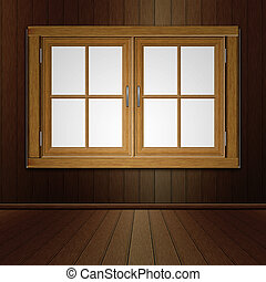 Wooden Window in Room - Grunge room interior and wooden...