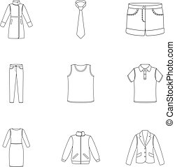 Clothes set icons in outline style. Big collection of...