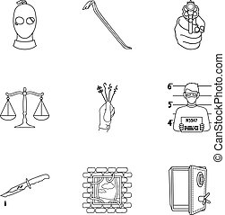 Crime set icons in outline style. Big collection of crime...