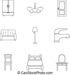 Furniture set icons in outline style. Big collection of...
