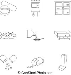 Medicine and hospital set icons in outline style. Big...