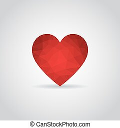 Heart icon in polygonal style on a gray background