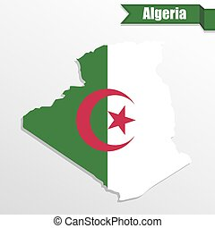 Algeria map with flag inside and ribbon