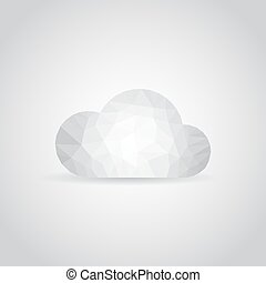 Cloud icon in polygonal style on a gray background