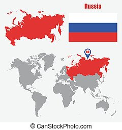 Russia map on a world map with flag and map pointer. Vector...