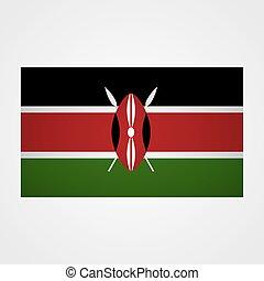 Kenya flag on a gray background. Vector illustration