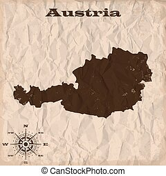 Austria old map with grunge and crumpled paper. Vector illustration