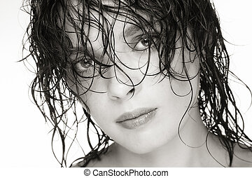 Wet hair - Close-up duotone portrait of beautiful young...