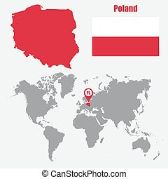 Poland map on a world map with flag and map pointer. Vector illustration