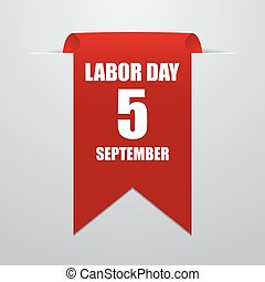 Labor day. Red label on a gray background. Vector illustration eps10