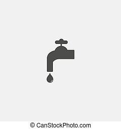 Water tap with drop icon in a flat design in black color....