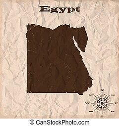 Egypt old map with grunge and crumpled paper. Vector illustration