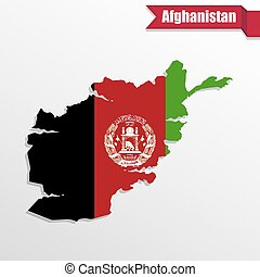 Afghanistan map with flag inside and ribbon