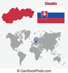 Slovakia map on a world map with flag and map pointer....