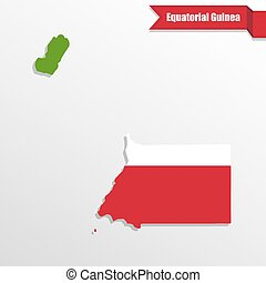 Equatorial Guinea map with flag inside and ribbon