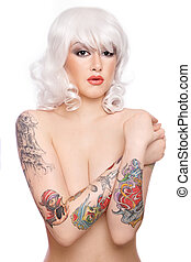 Girl with tattooes - Beautiful girl in blond wig with...