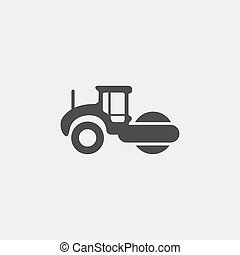 Asphalt machine icon in a flat design in black color. Vector...