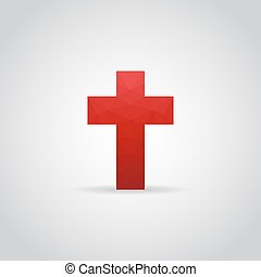 Cross icon in polygonal style on a gray background