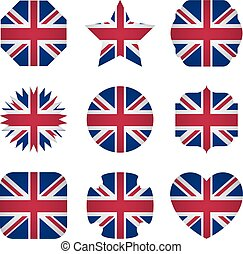 UK flag with different shapes on a white background