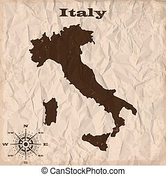 Italy old map with grunge and crumpled paper. Vector illustration