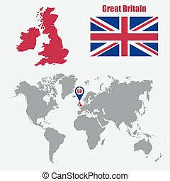 UK map on a world map with flag and map pointer. Vector...