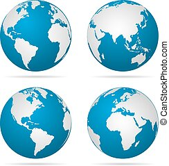 Earth globe revolved in four different stages with shadow. Vector illustration